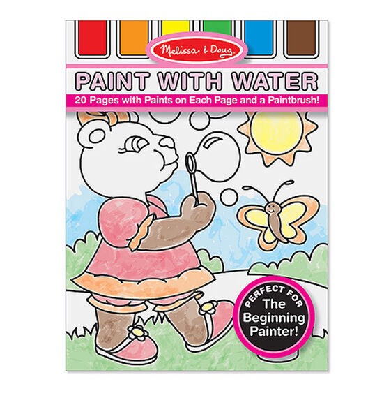 Paint With Water Kids' Art Pad With Paintbursh - Playtime, Fairies, Animals, and More