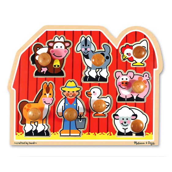 Large farm jumbo knob puzzle 8 pieces melissa doug for Friendship crafts for 2 year olds