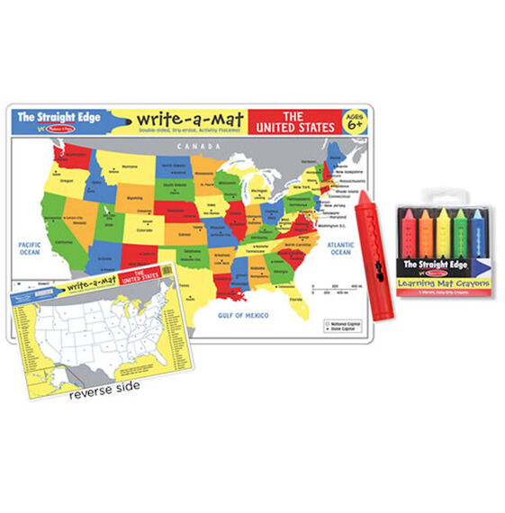 Learning Mats Choices - Us photo map mat