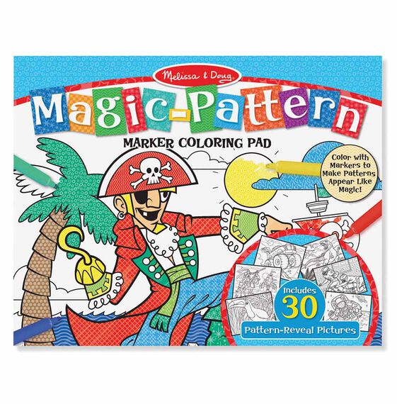 Magic-Pattern Marker Kids' Coloring Pad - Pirates, Sports, Castles, and More