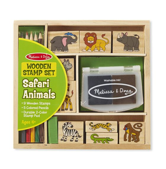 Wooden Stamp Set - Safari Animals
