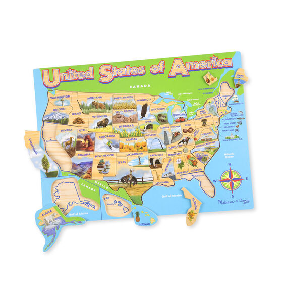 Map Wooden Jigsaw Puzzle - Puzzle us map