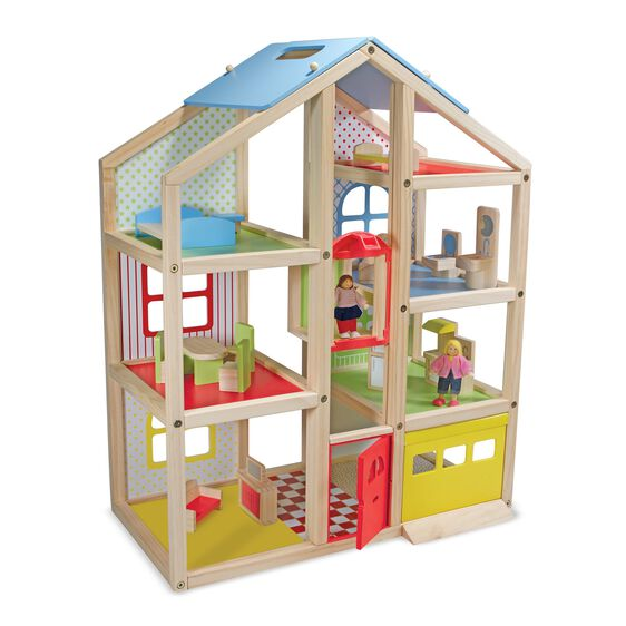 Hi Rise Wooden Dollhouse And Furniture Set Melissa Doug