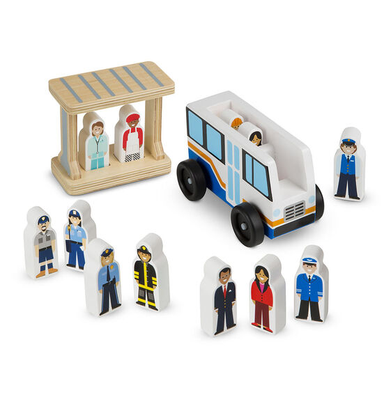 Classic Wooden Toy - Off to Work Bus Set