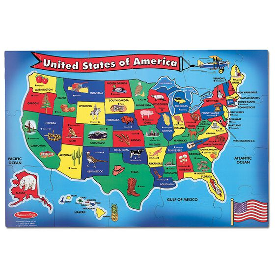 USA United States Map Floor Puzzle Pieces Melissa Doug - Image of united states map