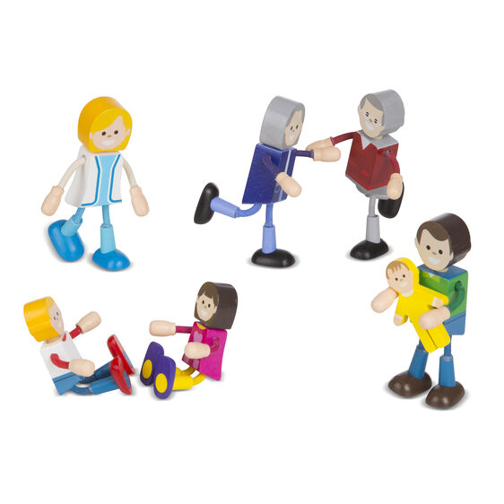 Wooden Flexible Figures - Caucasian Family