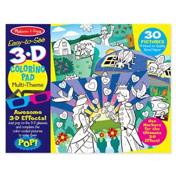 Easy-to-See 3-D Kids' Coloring Pad - Princesses, Fairies, Horses, and More