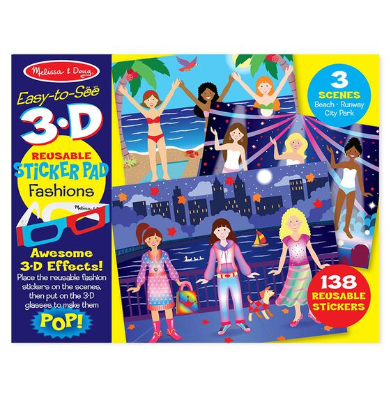 Easy-to-See 3-D Reusable Sticker Pad - Fashions