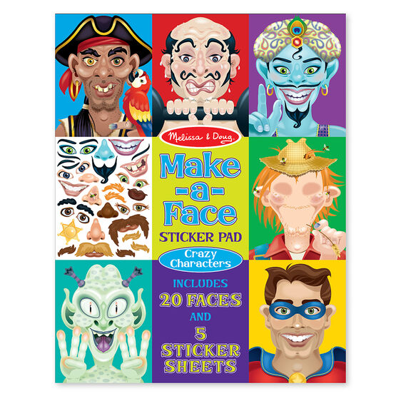 Make a face crazy characters stickers pad