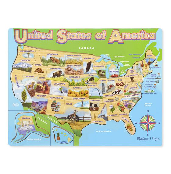 Map Wooden Jigsaw Puzzle - Us jigsaw map wood