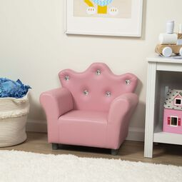 Child's Crown Armchair - Pink Faux Leather