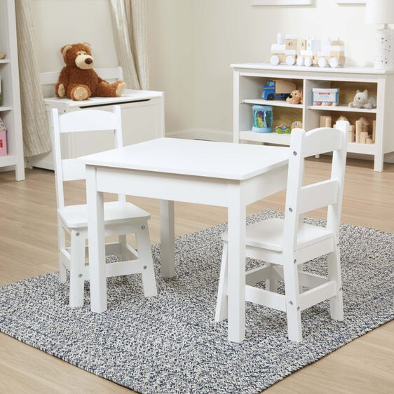 Wooden Table & Chairs - White