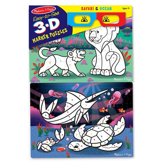 Easy-to-See 3D Marker Coloring Puzzles - Safari/Ocean