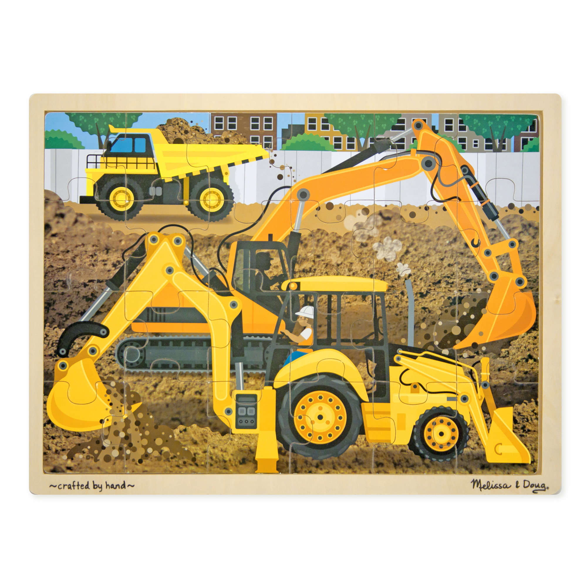 Diggers at Work Wooden Jigsaw Puzzle  24 Pieces
