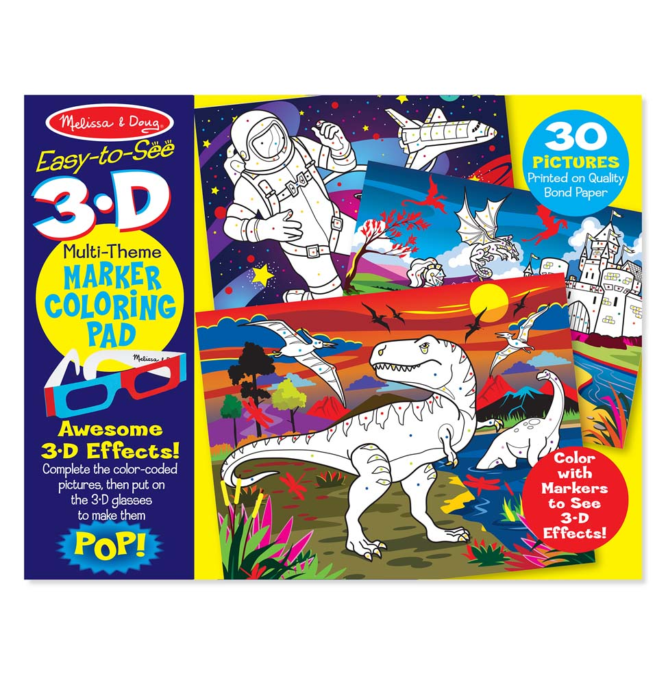 EasytoSee 3D Kids Coloring Pad  Dinosaurs Knights Space and More