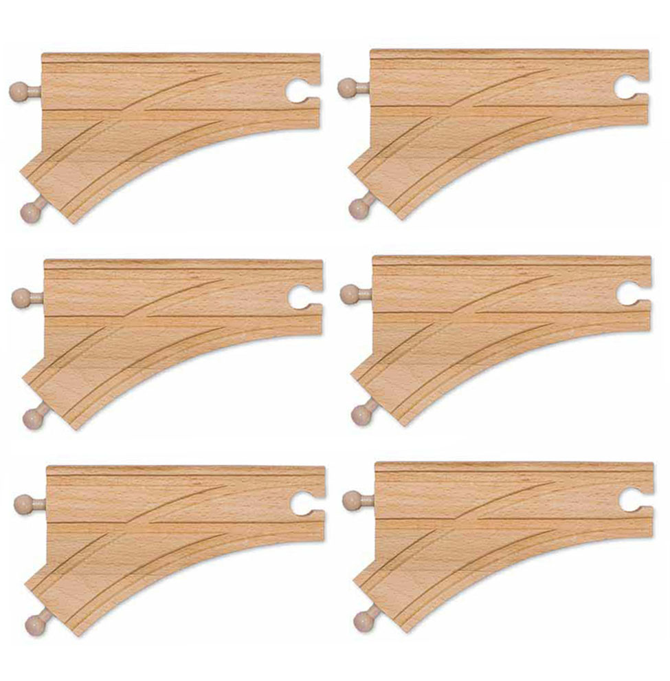 6 Wooden Curved Switch Track  Male (6 pack)