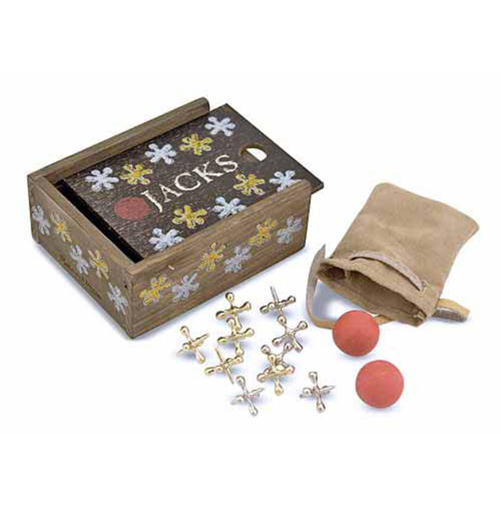 Classic Jacks Set with Wooden Storage Box 4361