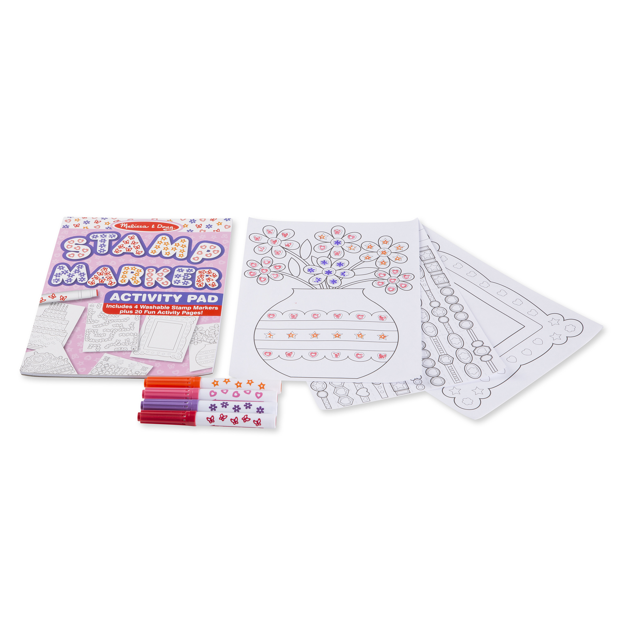 Stamp Markers and Activity Pad  Butterflies Hearts Flowers and Stars