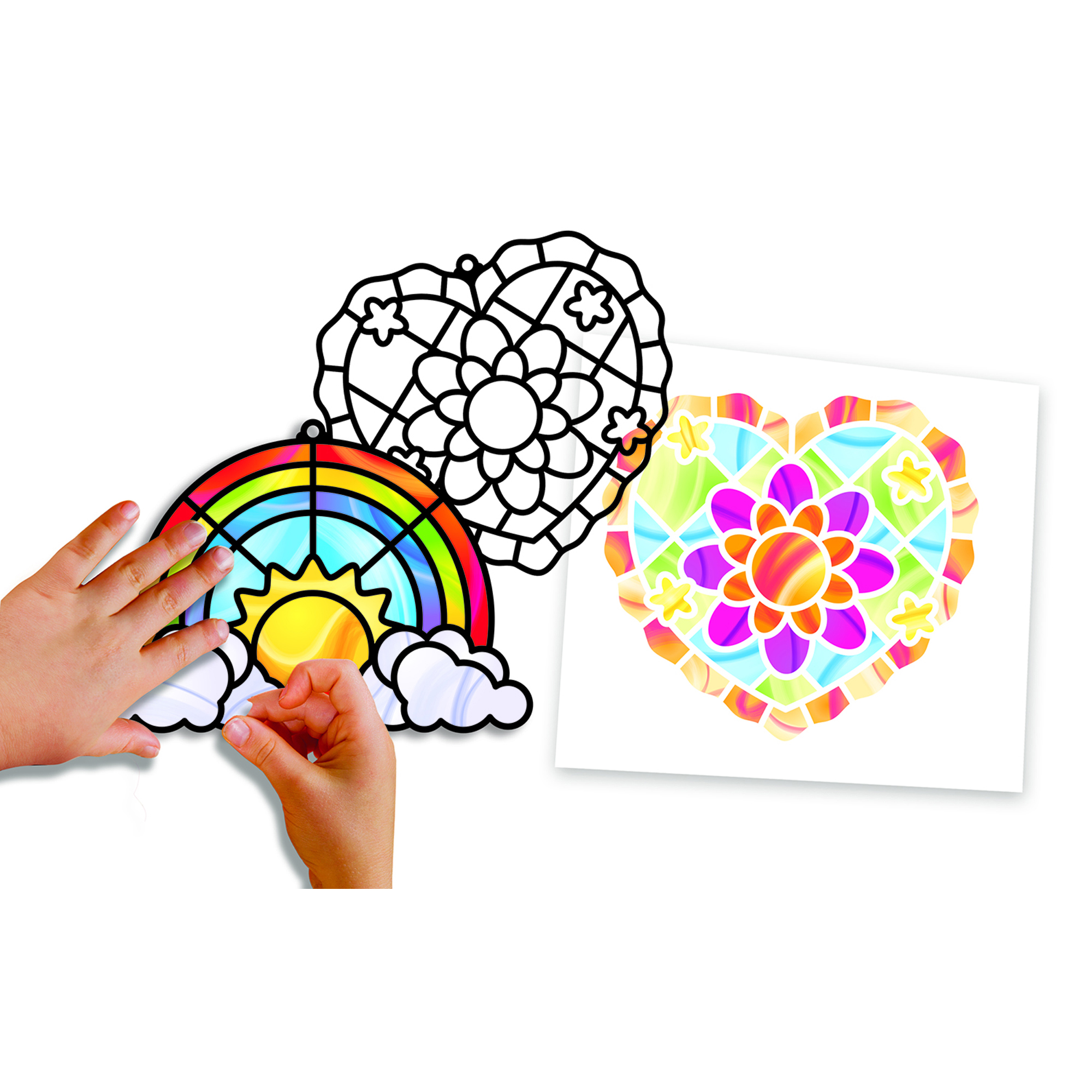Stained Glass Made Easy - Rainbow & Hearts Ornaments 9294