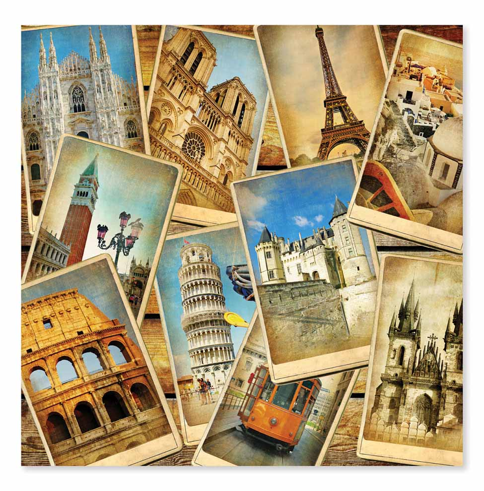 Postcards from Europe Cardboard Jigsaw  1000 Pieces