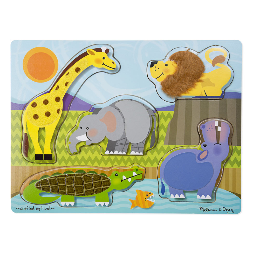 Zoo Animals Touch and Feel Puzzle  5 Pieces