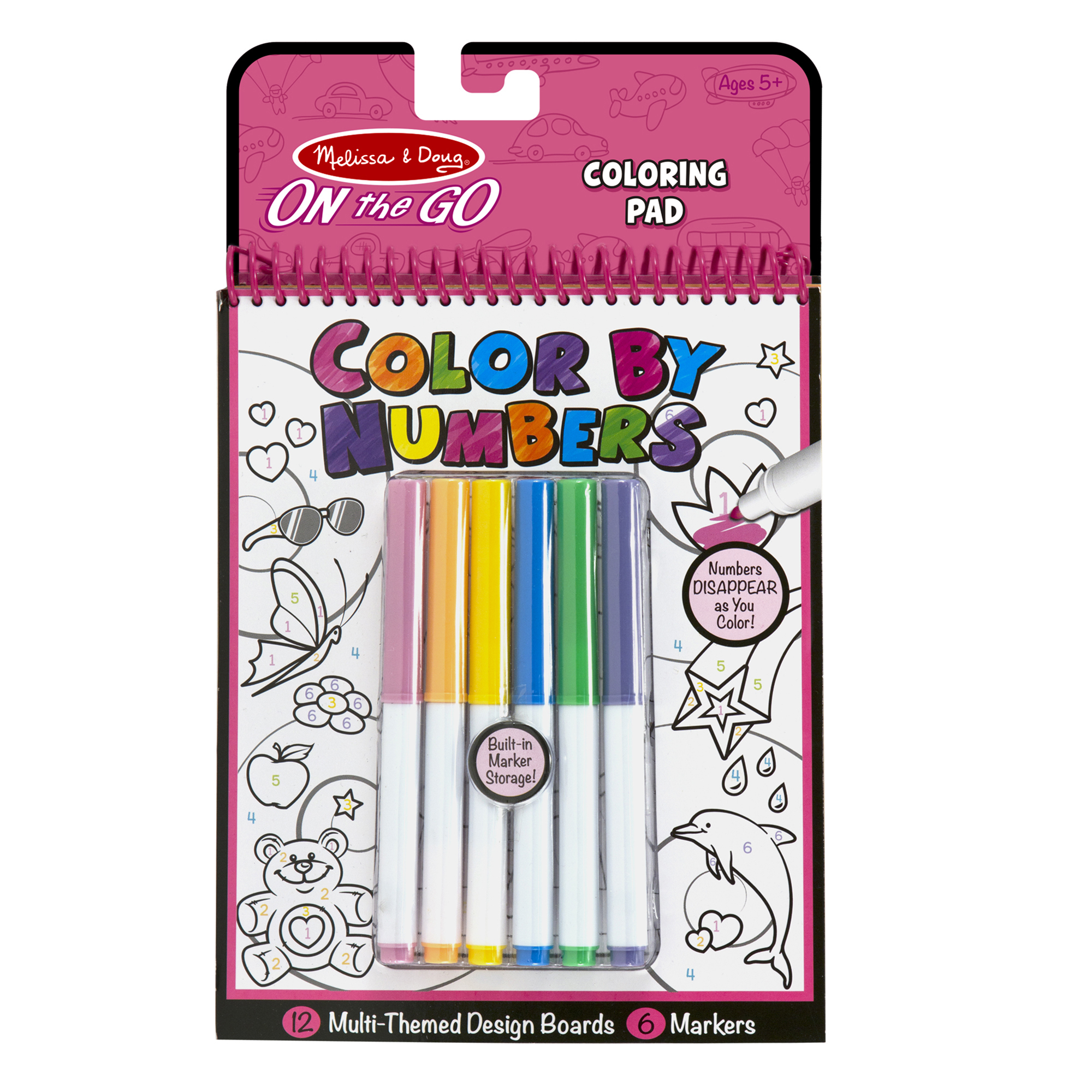On the Go Color by Numbers Kids Design Boards With 6 Markers  Unicorns Ballet Kittens and More