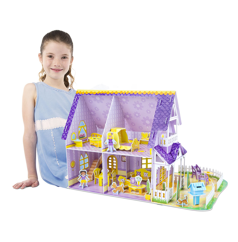 Pretty Purple Dollhouse 3D Puzzle  Dollhouse In One