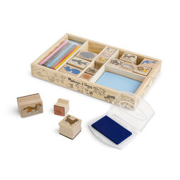 Wooden case with wooden animal stamps, colored pencils, and stamp pad
