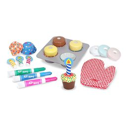 Cupcakes, cupcake baking tray, candles, and dry-erase markers