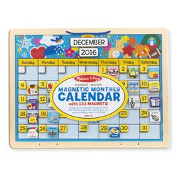 Monthly magnetic calendar in packaging