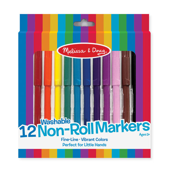 12 multi-colored markers in packaging