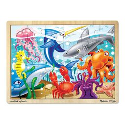 Sea creature wooden puzzle with wooden case