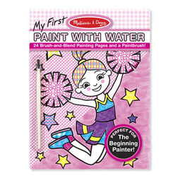 Paint with water art pad with cheerleader and paintbrush in packaging