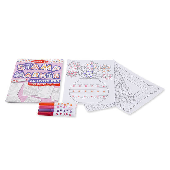 Stamp marker activity pad, markers, and activity pages