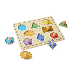 Eight piece shapes jumbo knob puzzle with four pieces removed