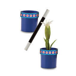 Empty blue flower pot, magic wand, and blue flower pot with flower