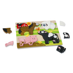 20 piece chunky puzzle with Horse, Sheep, Pig, and Cow with five pieces removed
