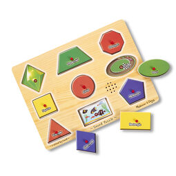 Nine piece shapes sound puzzle with three pieces removed