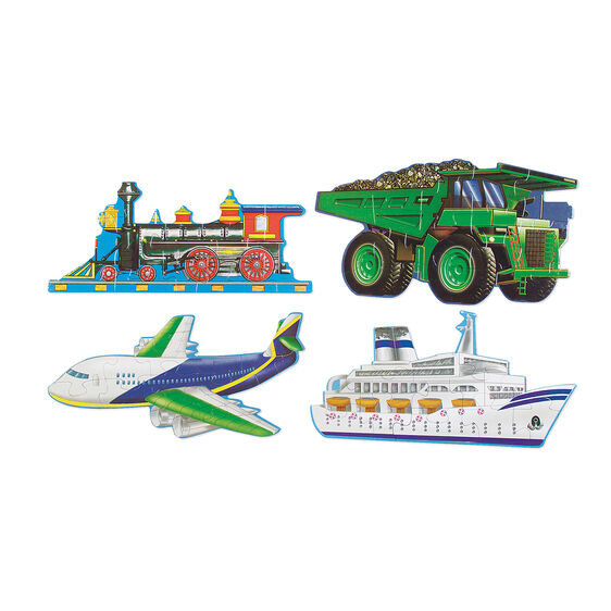 48 piece vehicles floor puzzle with train, dump truck, jet plane, and cruise ship