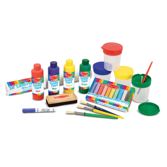 Easel paper, poster paint containers, chalk eraser, marker, paint brushes, chalk, and paint cups