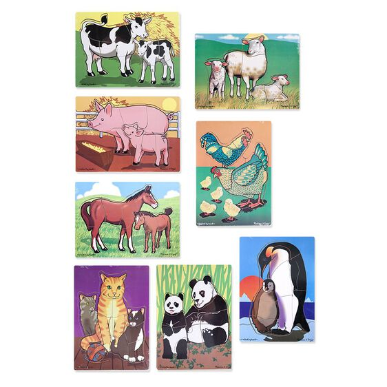 set of eight puzzles with cows, sheep, pigs, chickens, horses, cats, pandas, and penguins