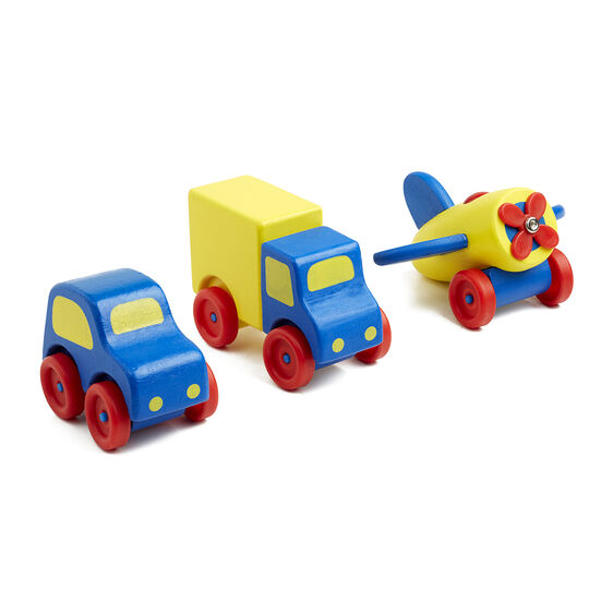 Blue and yellow wooden car, truck, and plane with red wheels