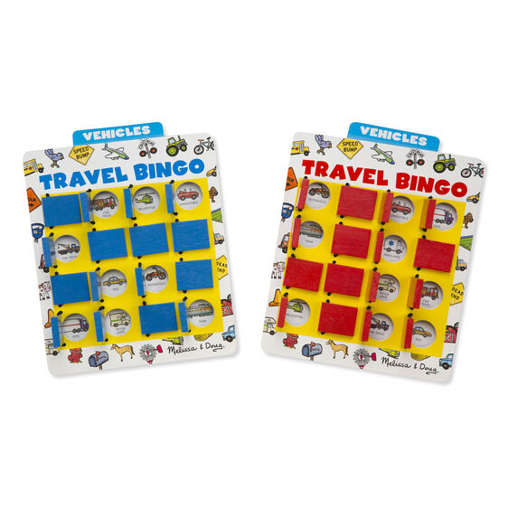 Red and blue travel bingo boards with flip panels and vehicle themed game cards