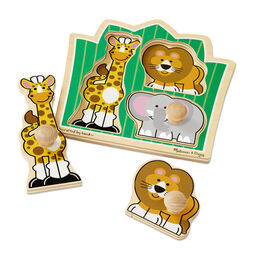 Three piece jumbo knob puzzle with Giraffe, Lion, and Elephant pieces