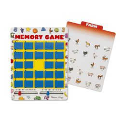 Memory game board with flip panels and farm animal themed game card