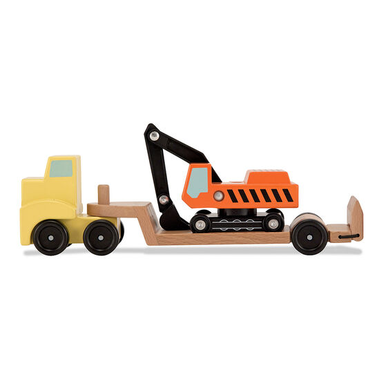 Wooden loading truck with excavator toy