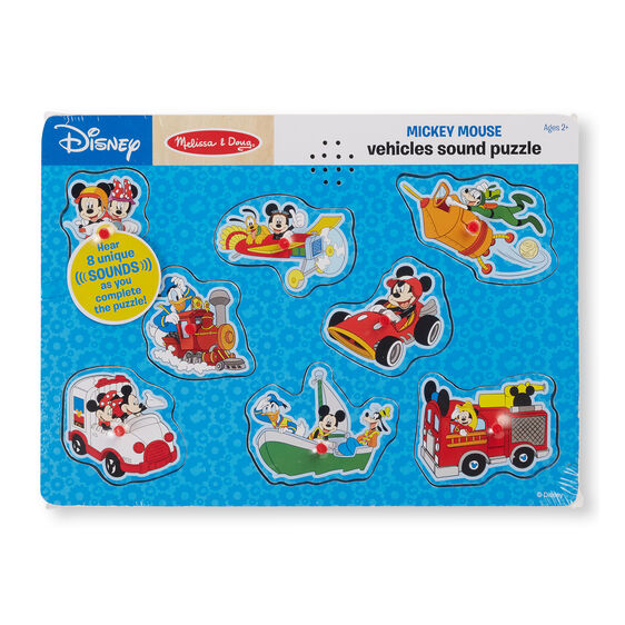 Disney Mickey Mouse & Friends Vehicles Wooden Sound Puzzle