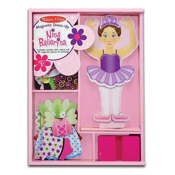 Ballerina wooden magnetic dress up set in packaging