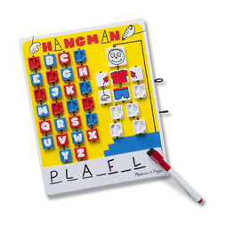 Yellow hangman board with letters, stick figure hangman, dry-erase board, and marker