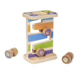 Zoo animal themed zig-zagged rolling tower with four rolling pieces
